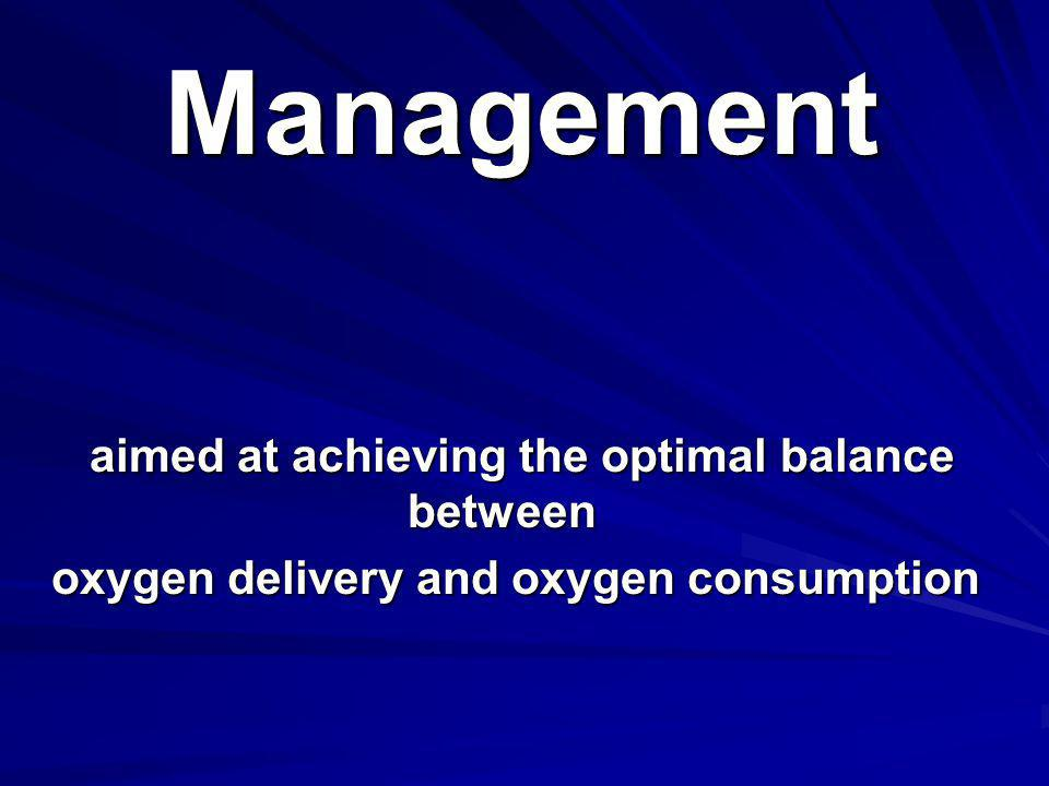 Management aimed at achieving the optimal balance between oxygen delivery and oxygen consumption