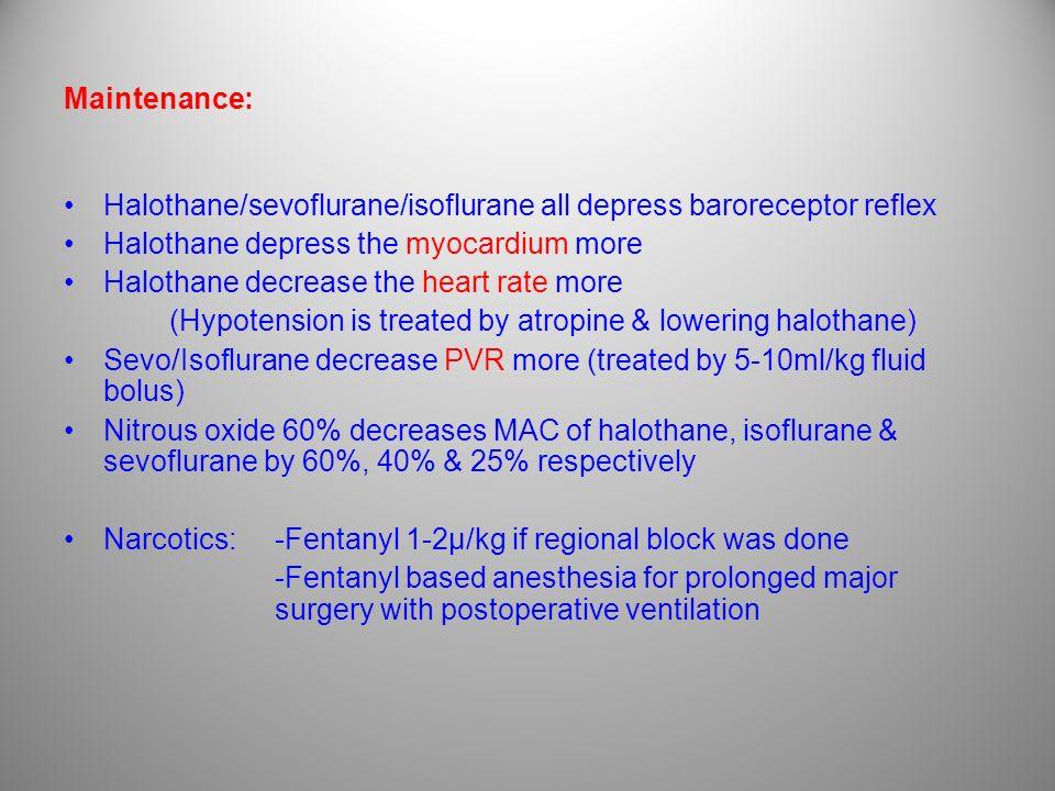 Maintenance: Halothane/sevoflurane/isoflurane all depress baroreceptor reflex Halothane depress the myocardium more Halothane decrease the heart rate