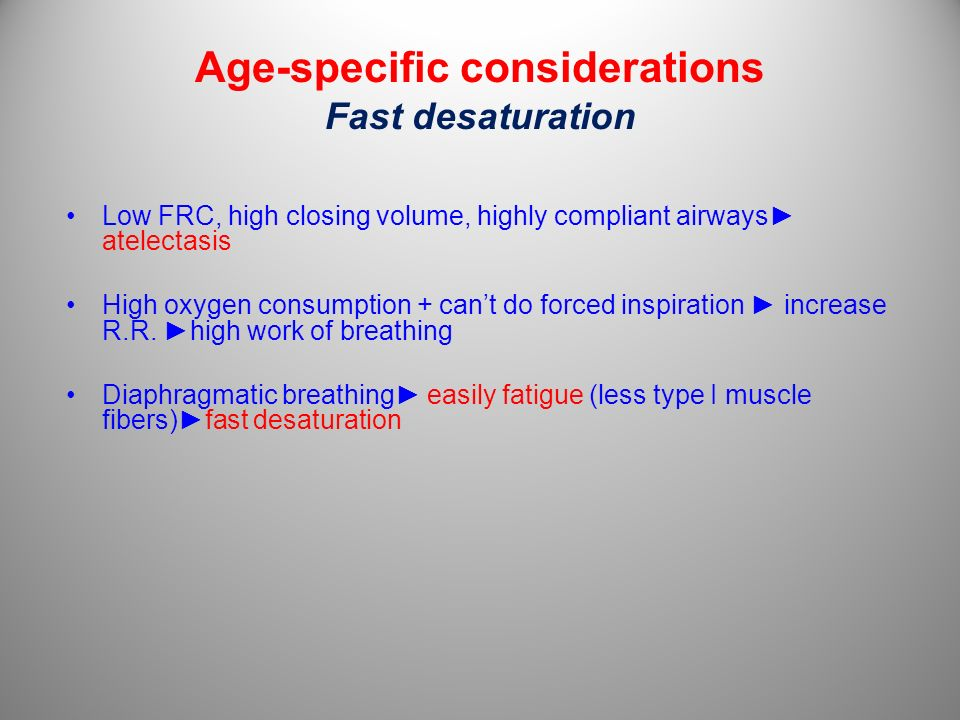 Age-specific considerations Fast desaturation Low FRC, high closing volume, highly compliant airways atelectasis High oxygen consumption + cant do for