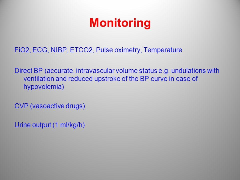 Monitoring FiO2, ECG, NIBP, ETCO2, Pulse oximetry, Temperature Direct BP (accurate, intravascular volume status e.g. undulations with ventilation and