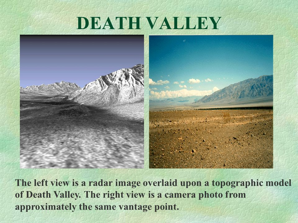 DEATH VALLEY The left view is a radar image overlaid upon a topographic model of Death Valley. The right view is a camera photo from approximately the