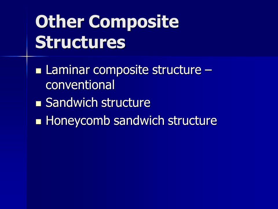 Other Composite Structures Laminar composite structure – conventional Laminar composite structure – conventional Sandwich structure Sandwich structure