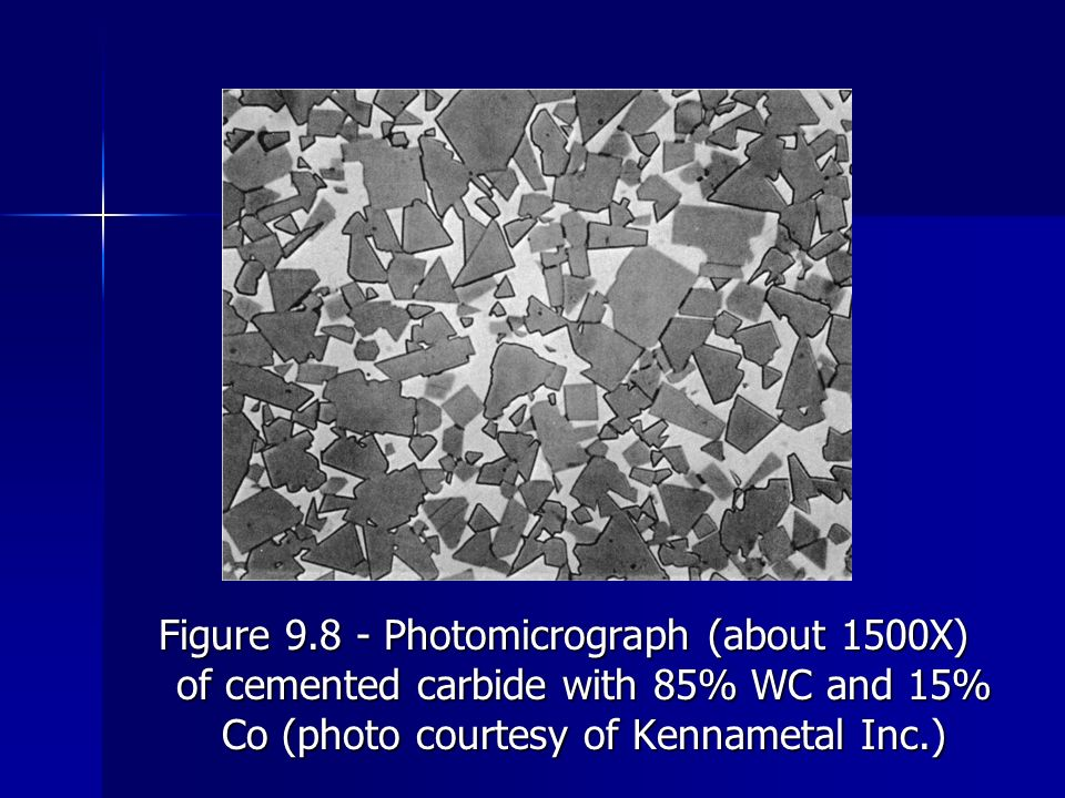 Figure 9.8 Photomicrograph (about 1500X) of cemented carbide with 85% WC and 15% Co (photo courtesy of Kennametal Inc.)