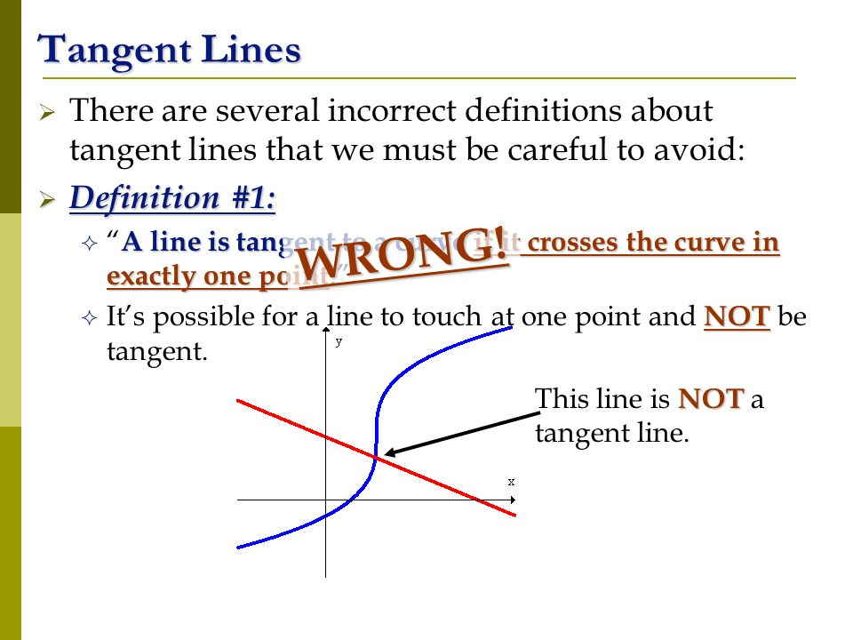 Tangent Lines There are several incorrect definitions about tangent lines that we must be careful to avoid: Definition #1: Definition #1: A line is ta