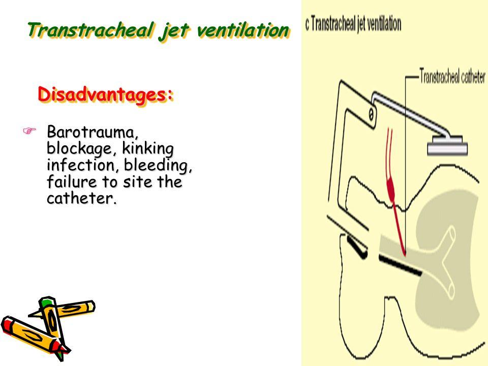 Transtracheal jet ventilation Barotrauma, blockage, kinking infection, bleeding, failure to site the catheter. Barotrauma, blockage, kinking infection