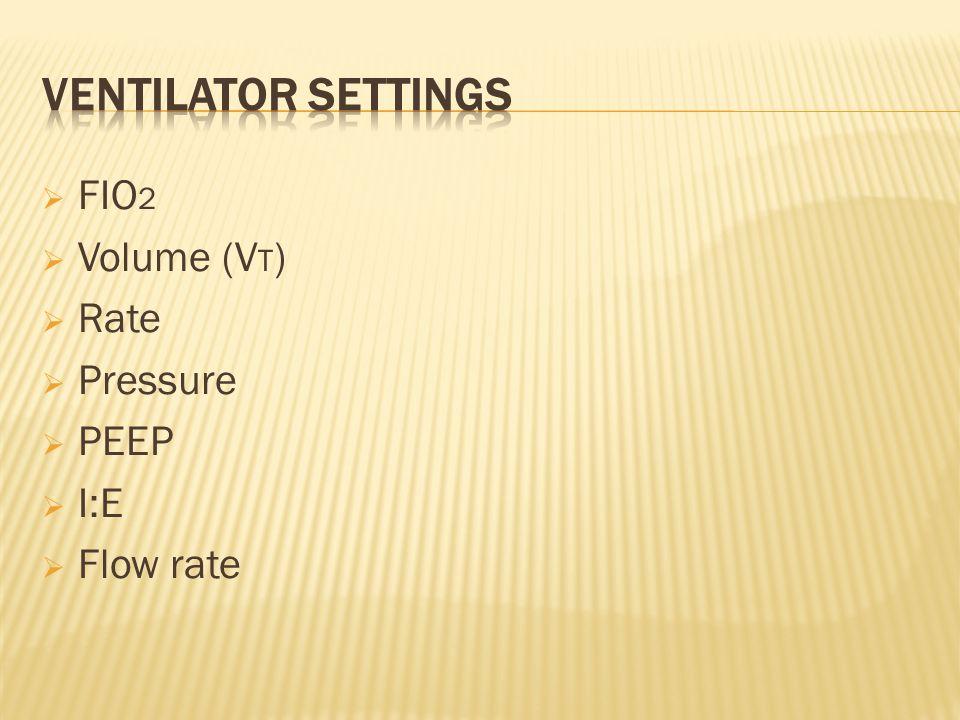 FIO 2 Volume (V T ) Rate Pressure PEEP I:E Flow rate