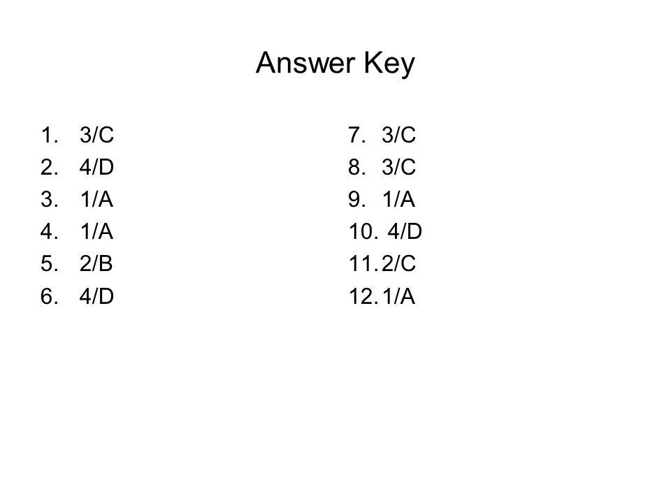 Answer Key 1.3/C 2.4/D 3.1/A 4.1/A 5.2/B 6.4/D 7.3/C 8.3/C 9.1/A 10. 4/D 11.2/C 12.1/A