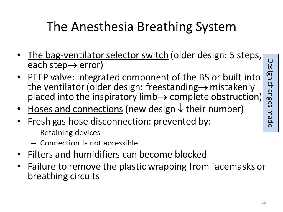 The Anesthesia Breathing System The bag-ventilator selector switch (older design: 5 steps, each step error) PEEP valve: integrated component of the BS