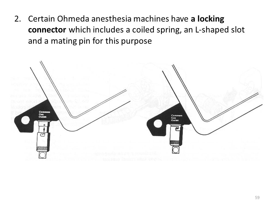 2.Certain Ohmeda anesthesia machines have a locking connector which includes a coiled spring, an L-shaped slot and a mating pin for this purpose 59