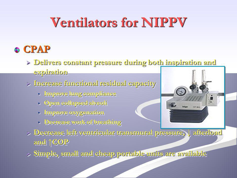 Mouth pieces Provides NIPPV to patients with chronic respiratory failure Provides NIPPV to patients with chronic respiratory failure Simple inexpensive Simple inexpensive Nasal air leaking decrease its efficacy Nasal air leaking decrease its efficacy o Managed by increasing ventilators tidal volume o Occluding nostrils with cotton pledgets or nose clips