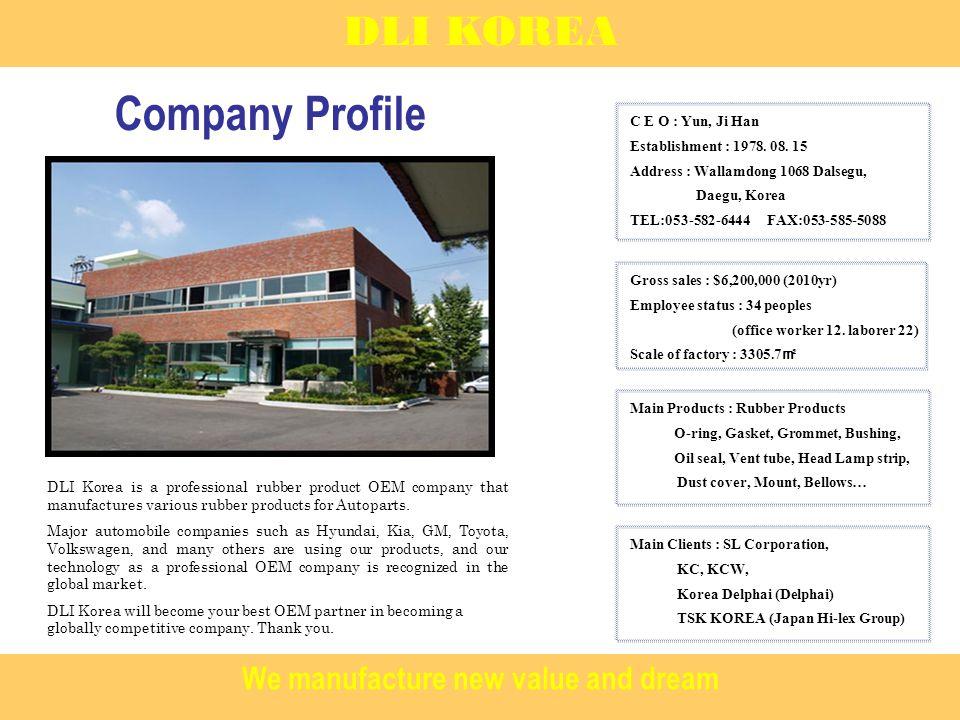 History DLI KOREA 1978.08 Establishment of DAE LIM Industrial 1993.