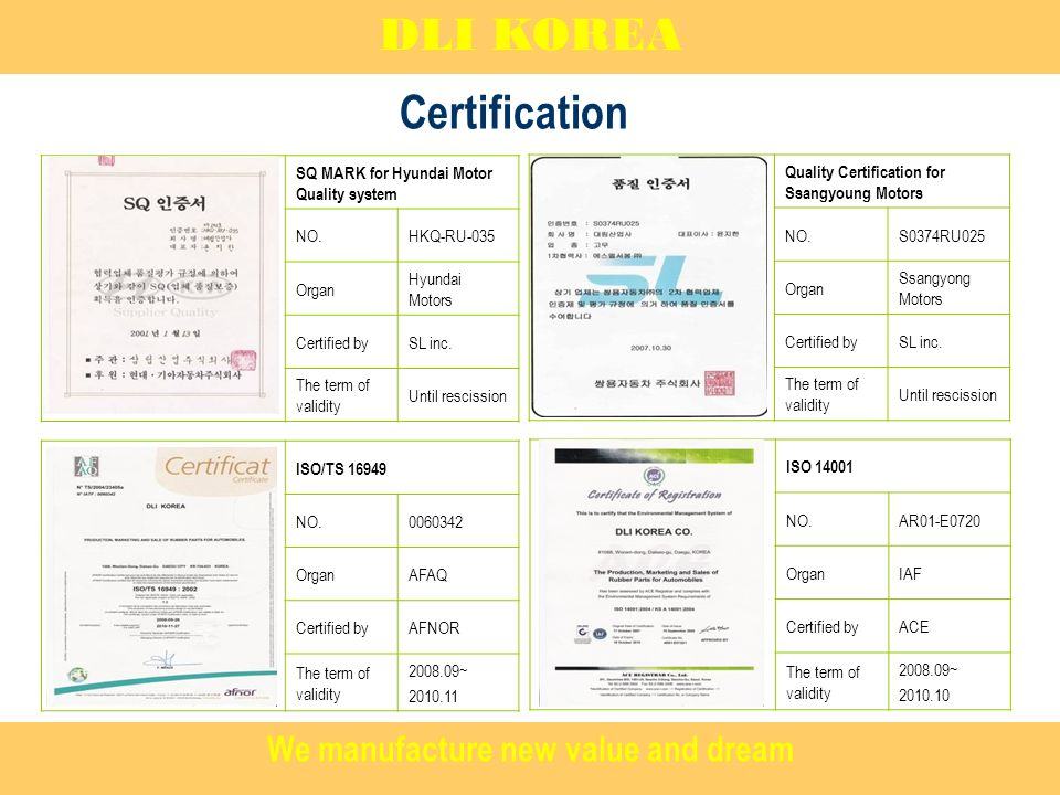 Certification DLI KOREA SQ MARK for Hyundai Motor Quality system NO.HKQ-RU-035 Organ Hyundai Motors Certified bySL inc. The term of validity Until res