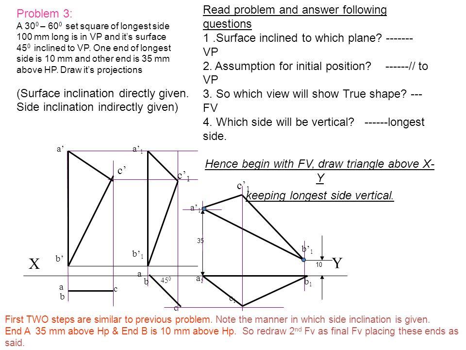 c c1c1 X Y 45 0 a1a1 b1b1 c1c1 a c a a b1b1 b b a1a1 b a1a1 b1b1 c1c1 c 35 10 Problem 3: A 30 0 – 60 0 set square of longest side 100 mm long is in VP