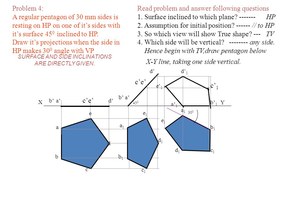 Read problem and answer following questions 1. Surface inclined to which plane? ------- HP 2. Assumption for initial position? ------ // to HP 3. So w