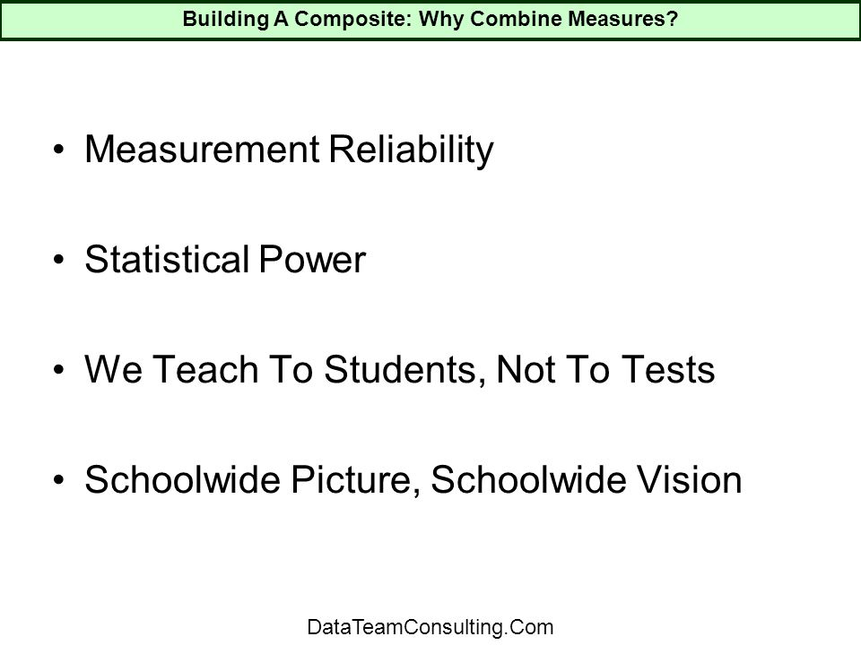 Measurement Reliability Statistical Power We Teach To Students, Not To Tests Schoolwide Picture, Schoolwide Vision Building A Composite: Why Combine Measures.