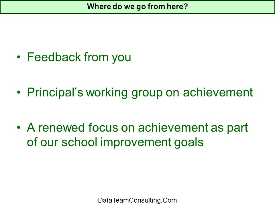 Feedback from you Principals working group on achievement A renewed focus on achievement as part of our school improvement goals Where do we go from here.