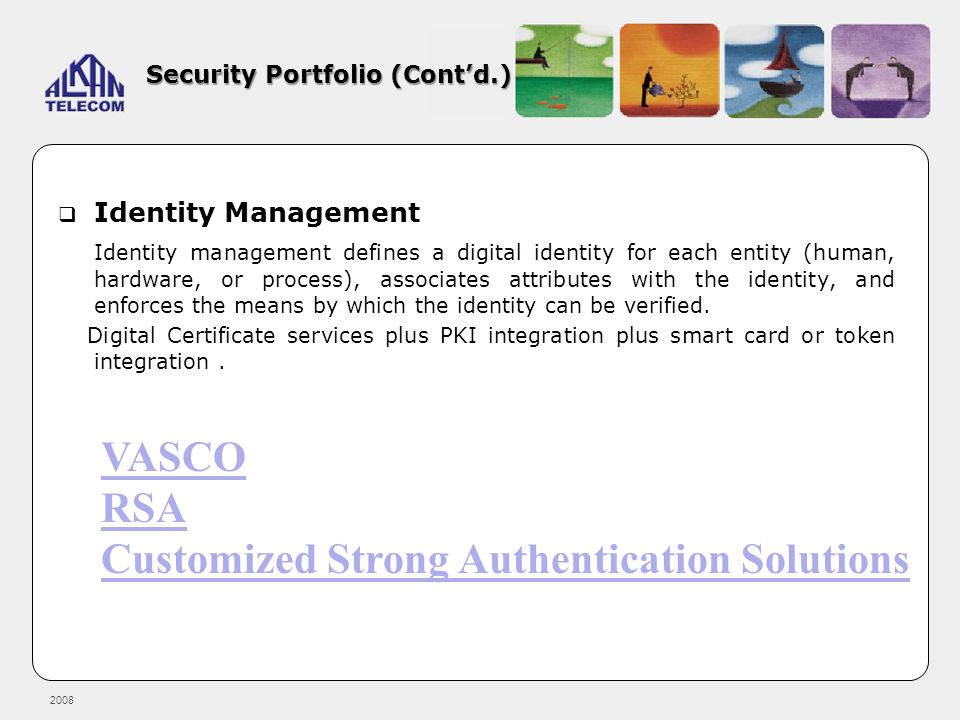 2008 Security Portfolio (Contd.) Identity Management Identity management defines a digital identity for each entity (human, hardware, or process), ass