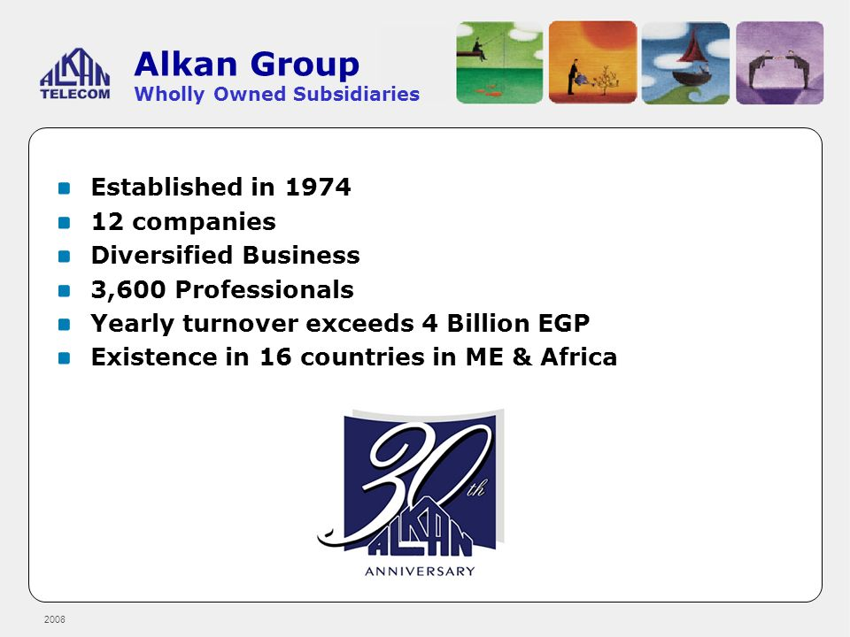 2008 Alkan Group Wholly Owned Subsidiaries Established in 1974 12 companies Diversified Business 3,600 Professionals Yearly turnover exceeds 4 Billion