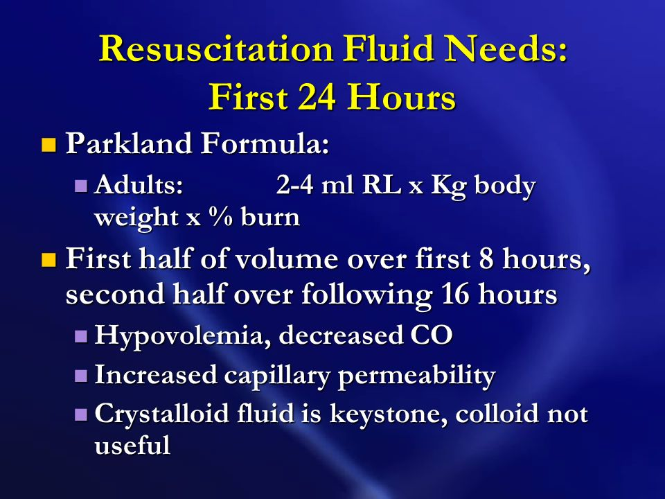 Fluid Resuscitation Goal: Maintain perfusion to vital organs Goal: Maintain perfusion to vital organs Fluid requirement calculations for infusion rate