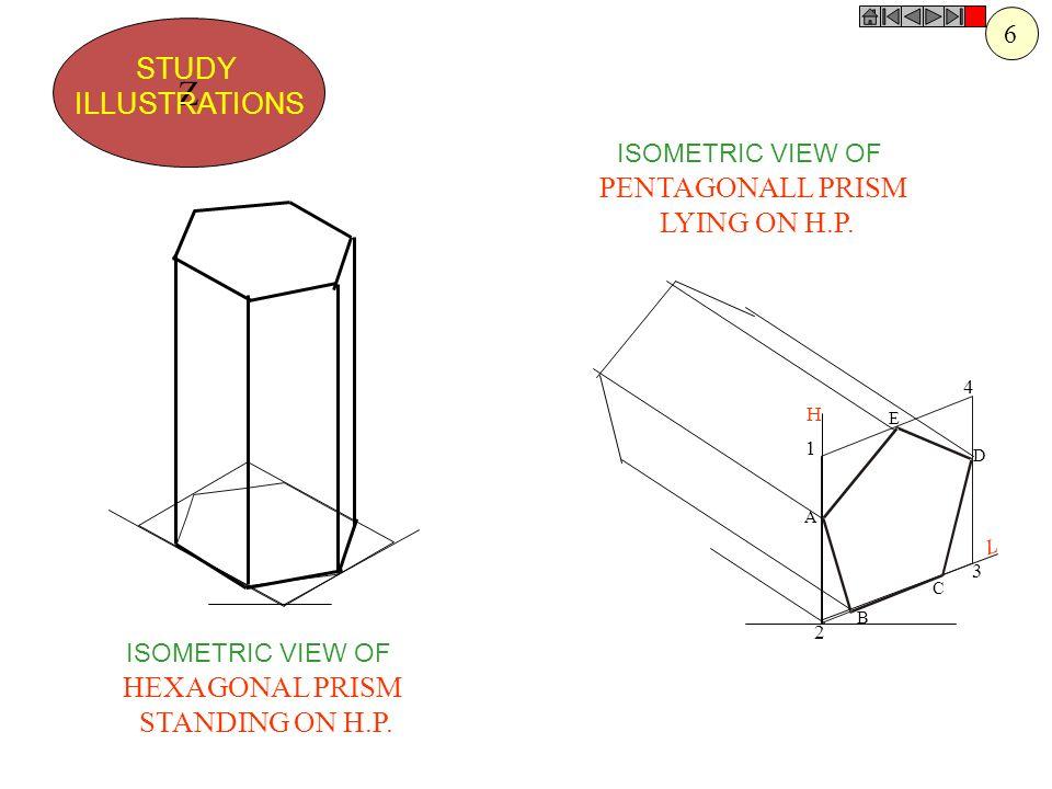H L 1 2 3 4 A B C D E Z STUDY ILLUSTRATIONS ISOMETRIC VIEW OF PENTAGONALL PRISM LYING ON H.P. ISOMETRIC VIEW OF HEXAGONAL PRISM STANDING ON H.P. 6