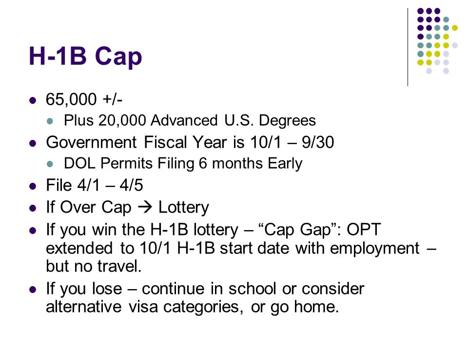H-1B Cap 65,000 +/- Plus 20,000 Advanced U.S.