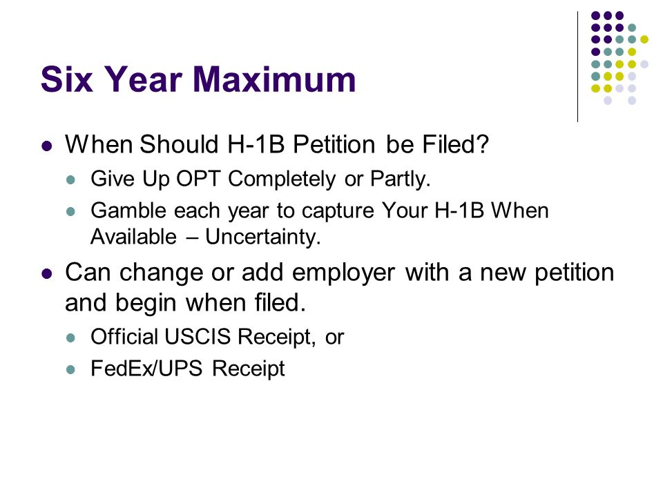 Six Year Maximum When Should H-1B Petition be Filed.