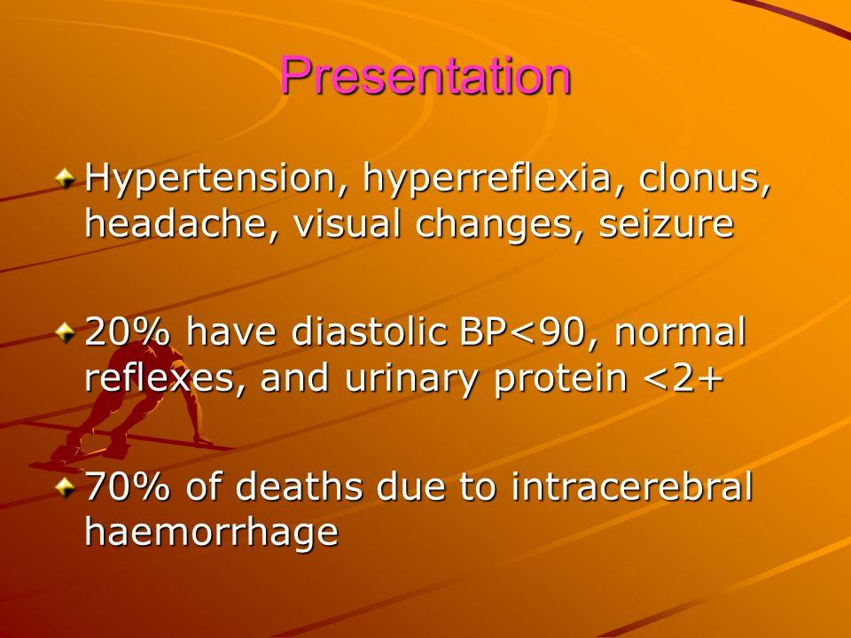 Presentation Hypertension, hyperreflexia, clonus, headache, visual changes, seizure 20% have diastolic BP<90, normal reflexes, and urinary protein <2+