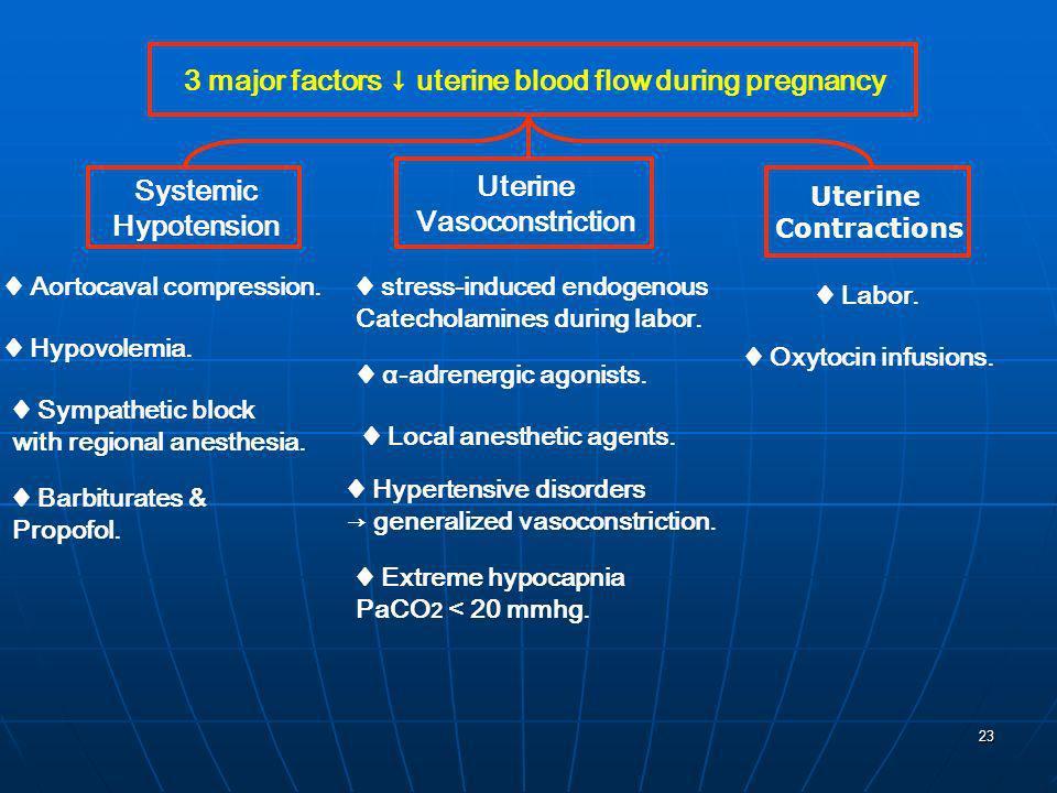 23 3 major factors uterine blood flow during pregnancy Systemic Hypotension Uterine Vasoconstriction Uterine Contractions Aortocaval compression. Hypo