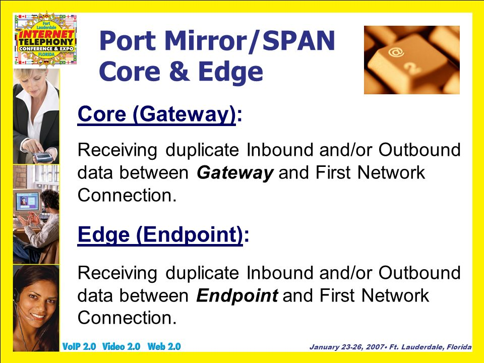 January 23-26, 2007 Ft. Lauderdale, Florida Port Mirror/SPAN Core & Edge Core (Gateway): Receiving duplicate Inbound and/or Outbound data between Gate