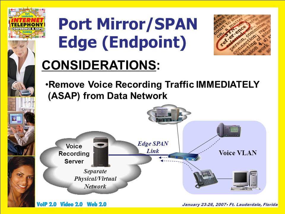 January 23-26, 2007 Ft. Lauderdale, Florida Port Mirror/SPAN Edge (Endpoint) CONSIDERATIONS: Remove Voice Recording Traffic IMMEDIATELY (ASAP) from Da