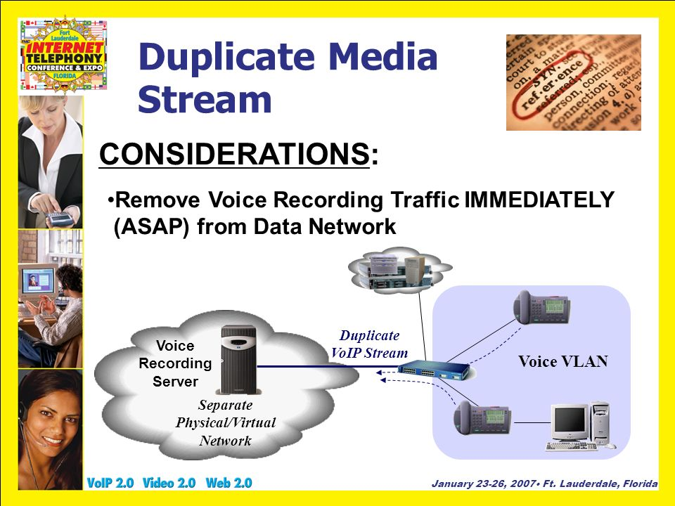 January 23-26, 2007 Ft. Lauderdale, Florida Duplicate Media Stream CONSIDERATIONS: Remove Voice Recording Traffic IMMEDIATELY (ASAP) from Data Network