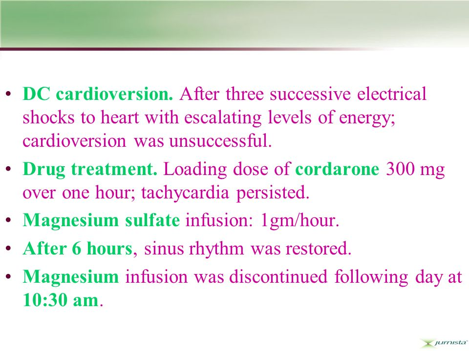 DC cardioversion.