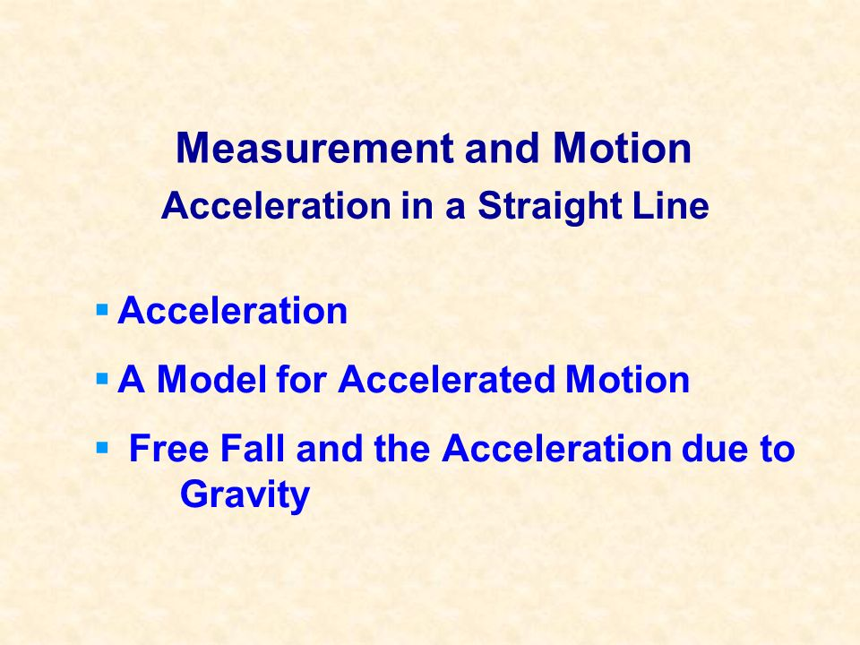 Acceleration and Speed An object can have acceleration, but no speed.