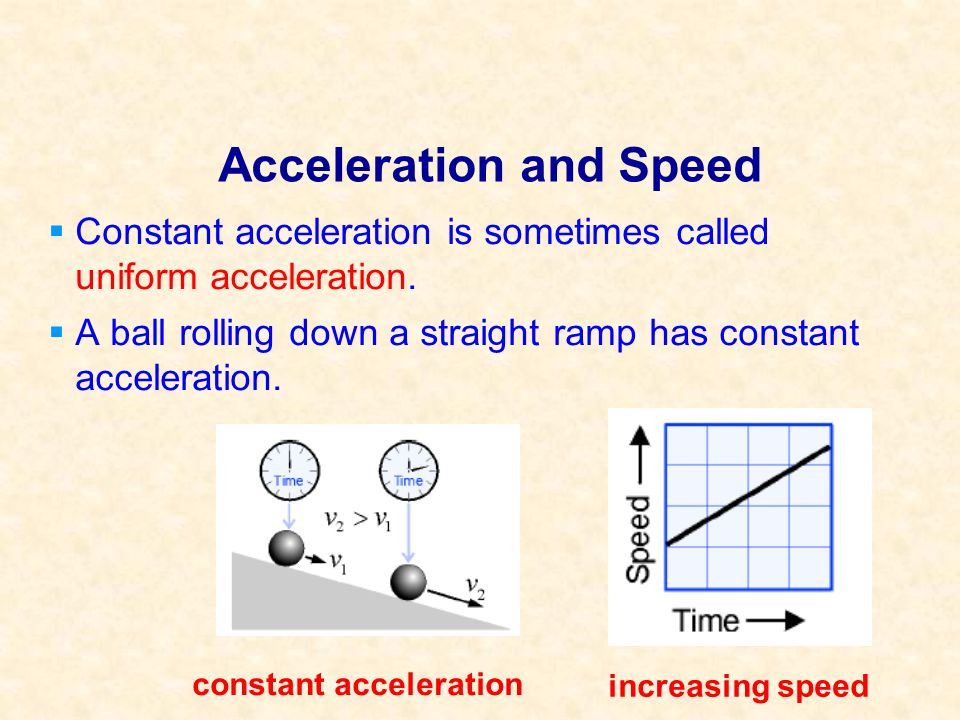 Acceleration and Speed Constant acceleration is sometimes called uniform acceleration. A ball rolling down a straight ramp has constant acceleration.