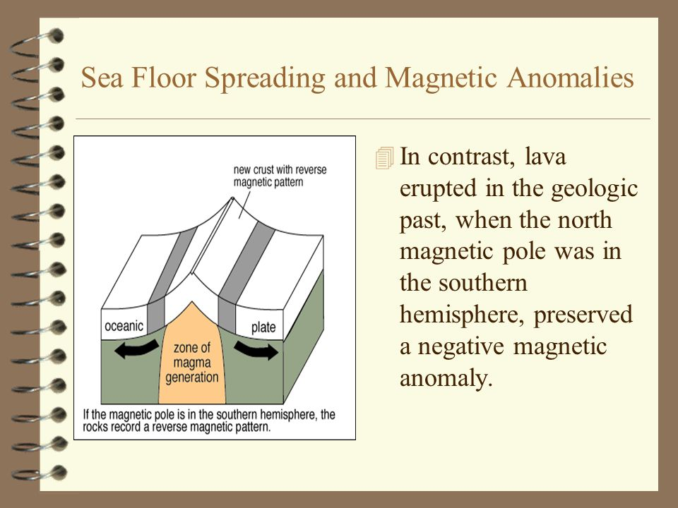 Sea Floor Spreading and Magnetic Anomalies –Lava erupting at the present time would preserve a positive magnetic anomaly because the Earth s north magnetic pole is in the northern hemisphere.