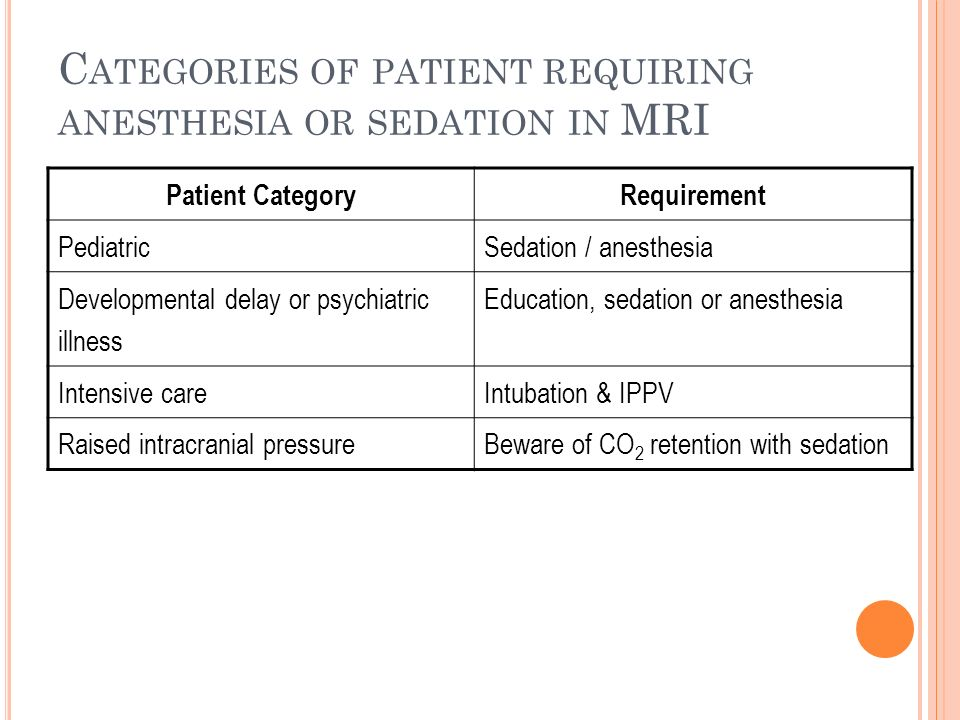 C ATEGORIES OF PATIENT REQUIRING ANESTHESIA OR SEDATION IN MRI Patient CategoryRequirement PediatricSedation / anesthesia Developmental delay or psych