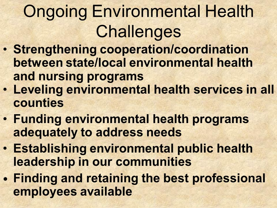 Ongoing Environmental Health Challenges Strengthening cooperation/coordination between state/local environmental health and nursing programs Leveling environmental health services in all counties Funding environmental health programs adequately to address needs Establishing environmental public health leadership in our communities Finding and retaining the best professional employees available