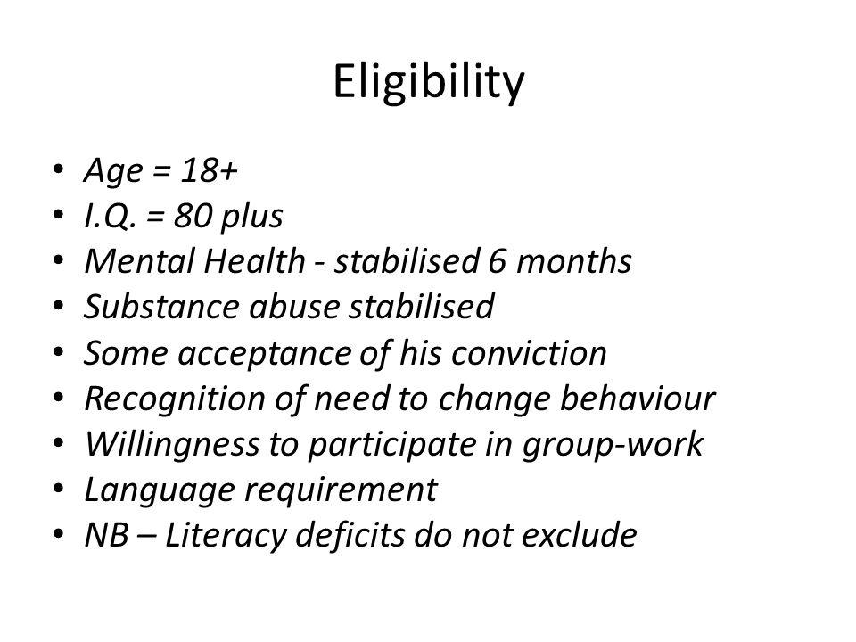 Eligibility Age = 18+ I.Q.