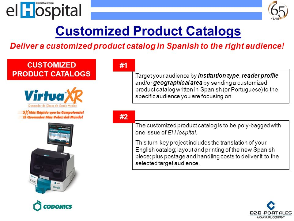 Customized Product Catalogs Target your audience by institution type, reader profile and/or geographical area by sending a customized product catalog