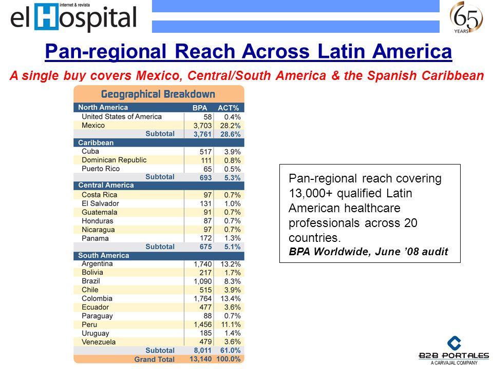 Pan-regional Reach Across Latin America Pan-regional reach covering 13,000+ qualified Latin American healthcare professionals across 20 countries. BPA
