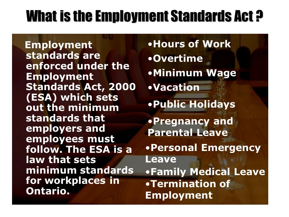 What is the Employment Standards Act ? Employment standards are enforced under the Employment Standards Act, 2000 (ESA) which sets out the minimum sta