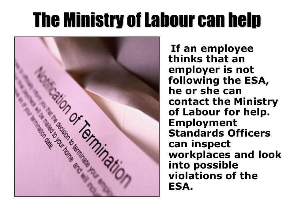 The Ministry of Labour can help If an employee thinks that an employer is not following the ESA, he or she can contact the Ministry of Labour for help