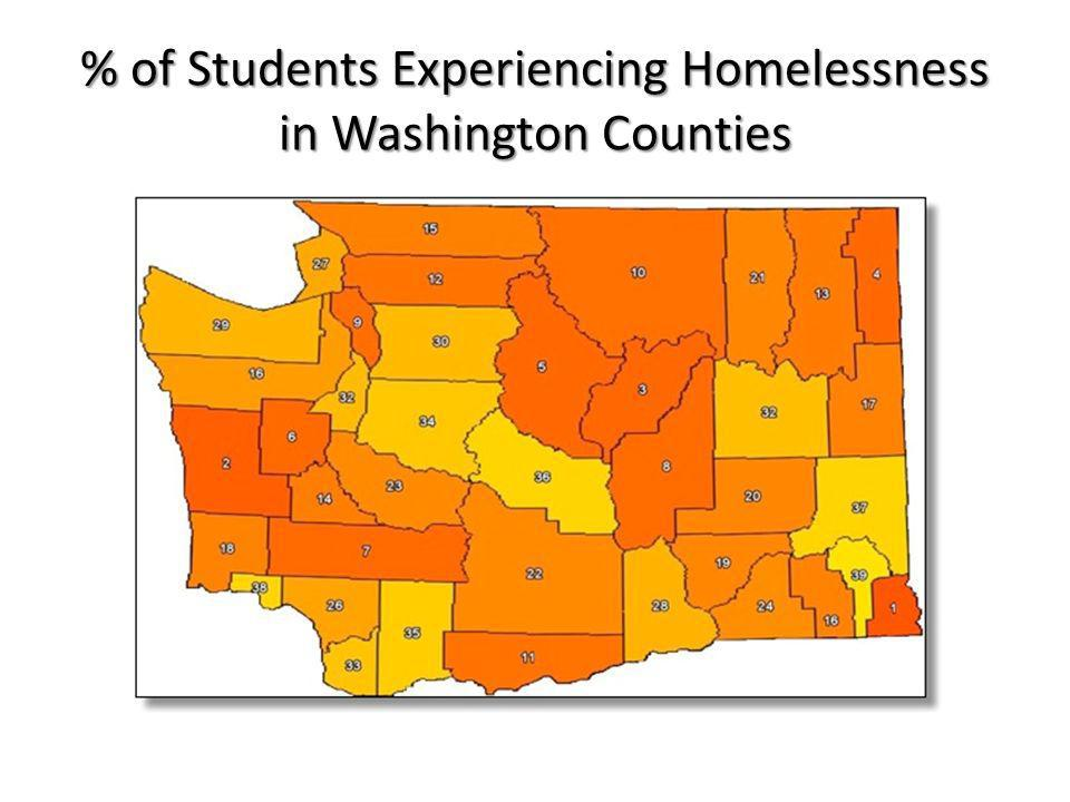 # of Students Experiencing Homelessness in Washington Counties