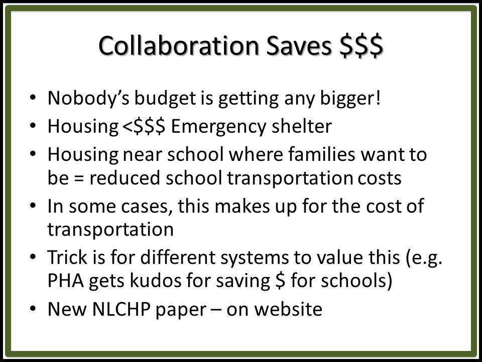 Collaboration Saves $$$ Nobodys budget is getting any bigger.