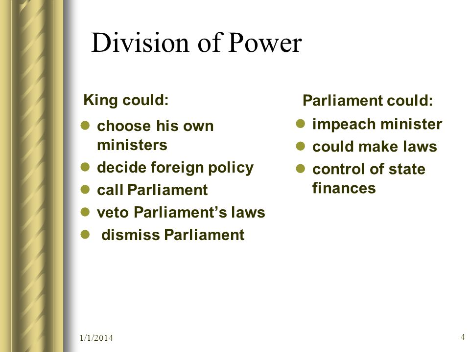 Division of Power King could: choose his own ministers decide foreign policy call Parliament veto Parliaments laws dismiss Parliament Parliament could