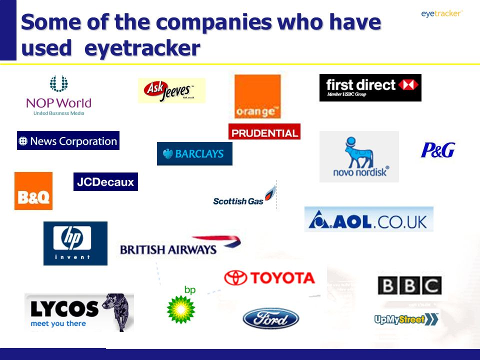 Some of the companies who have used eyetracker