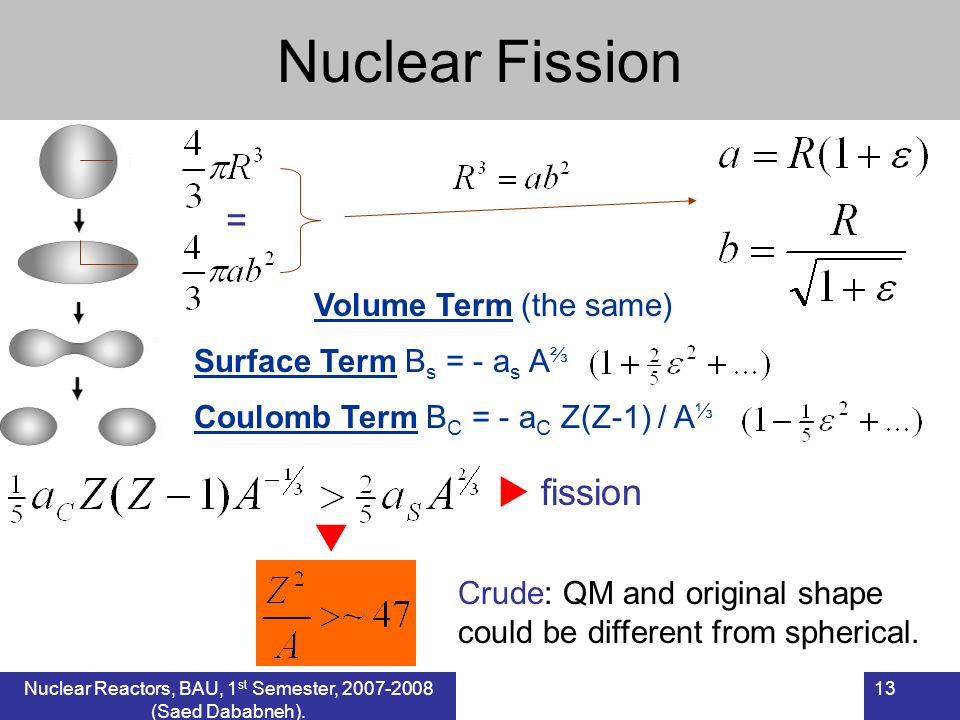 Nuclear Fission Surface Term B s = - a s A Coulomb Term B C = - a C Z(Z-1) / A = Volume Term (the same) fission Crude: QM and original shape could be