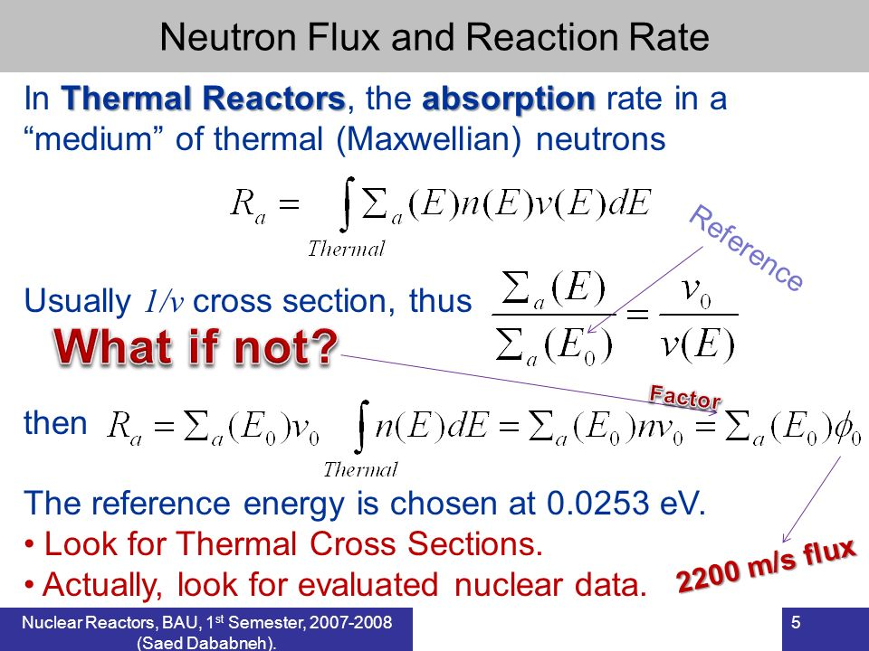 Thermal Reactorsabsorption In Thermal Reactors, the absorption rate in a medium of thermal (Maxwellian) neutrons Usually 1/v cross section, thus then