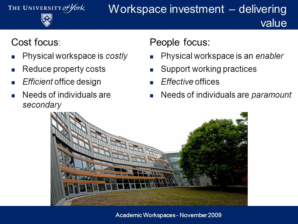 Academic Workspaces - November 2009 Workspace investment – delivering value Cost focus : Physical workspace is costly Reduce property costs Efficient