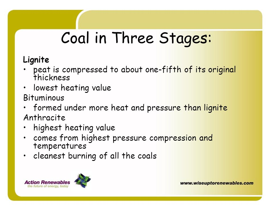 Coal in Three Stages: Lignite peat is compressed to about one-fifth of its original thickness lowest heating value Bituminous formed under more heat a